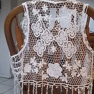 Free People Boho Lace Fringe Vest